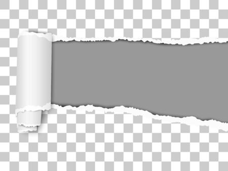 Oblong torn hole from right to left in transparent sheet of paper with shadow and paper curl. Dark gray resulting background. Vector paper mock up.