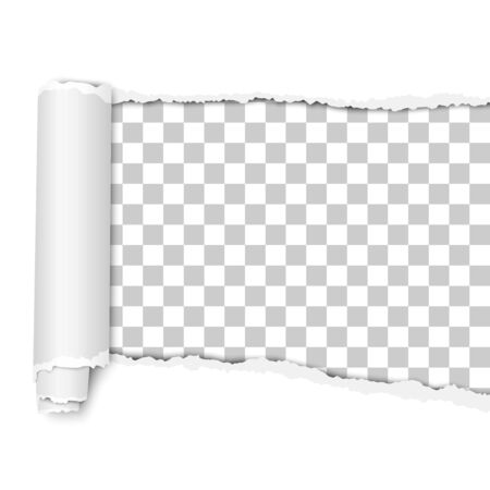 Oblong torn hole from right to left in white sheet of paper with shadow and paper curl. Vector paper mockup.