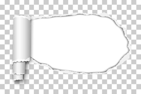 Oblong snatched hole in transparent sheet of paper from right side to left side with paper curl and white resulting background. Vector paper template.