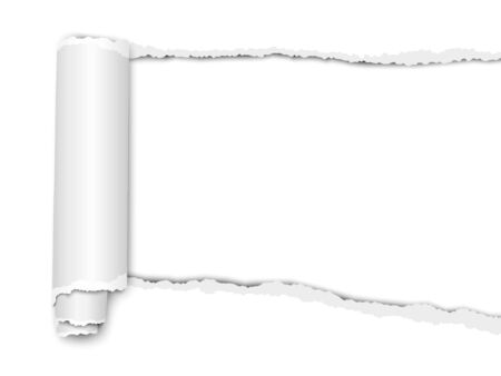 Oblong torn hole from right to left in bright white sheet of paper with soft shadow and paper curl. Vector paper template.