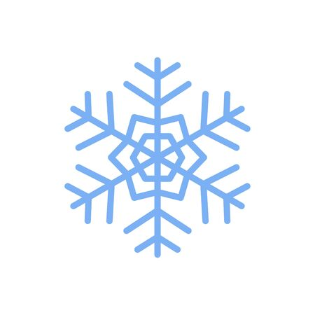 Snowflake vector icon isolated on red background