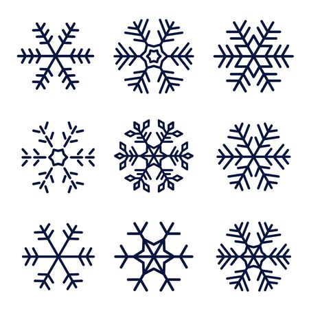 Snowflake vector icons set isolated on white background Vettoriali