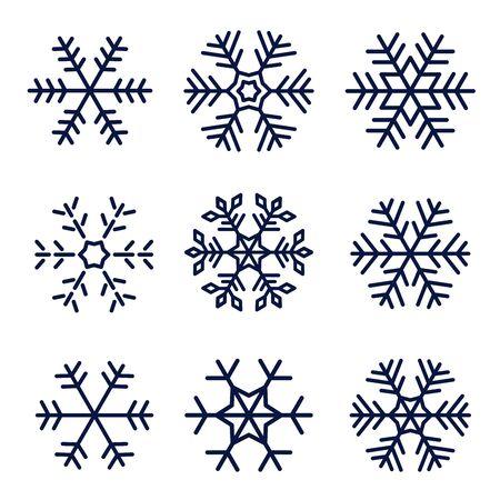 Ensemble d'icônes vectorielles flocon de neige isolé sur fond blanc Vecteurs