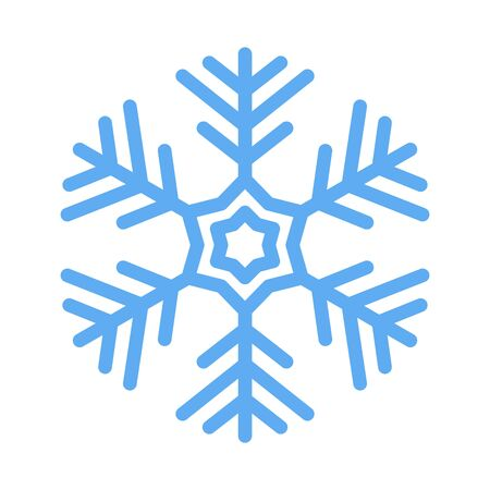 Vector snowflake icon, sign placed on white background