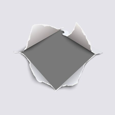 Snatched middle of white paper with torn edges, soft shadow and empty space. Damaged sheet with gray background for ad and other aims. Template paper design. Vector illustration.
