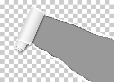 Vector diagonally torn hole in transparent sheet of paper from lower right corner with curl, soft shadow and dark gray background
