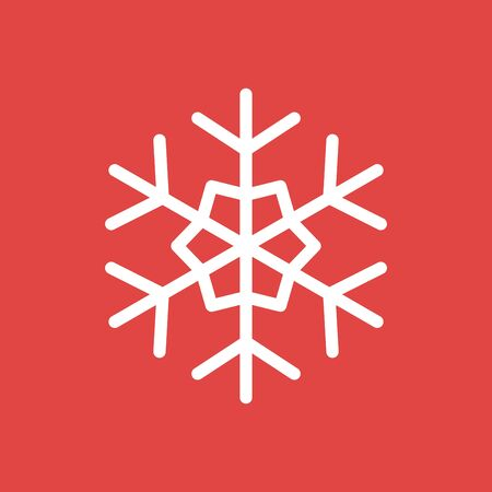 Snowflake icon, sign placed on red background