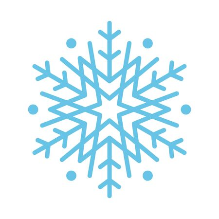 Blue snowflake icon, sign placed on white background