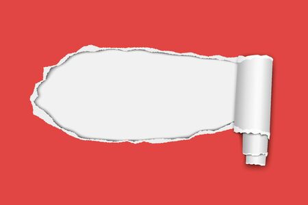 Vector oblong snatched hole from left to right in red sheet of paper with paper curl and white background in resulting window. Paper mock up. Çizim