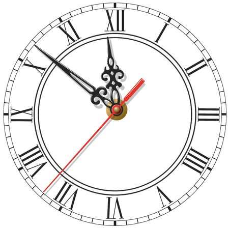 Elegant clock face with roman numerals, figured hands and red second hand isolated on white
