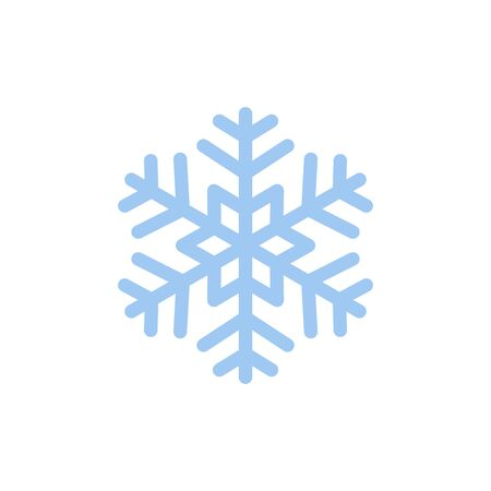 Snowflake blue vector icon isolated on white background
