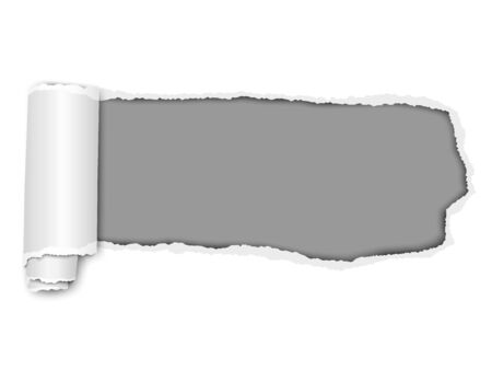 Elongated vector torn hole from right to left in white sheet of paper with soft shadow, paper curl and grey background in the hole. Paper template illustration.