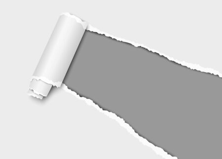 Vector diagonally torn hole in sheet of paper from lower right corner with curl, soft shadow and dark gray background