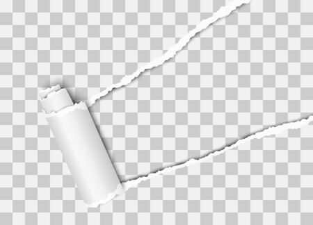 Vector diagonally torn hole in transparent sheet of paper from upper right corner with curl, soft shadow and transparent background