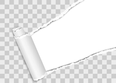 Vector diagonally torn hole in white sheet of paper from upper right corner with curl Vettoriali