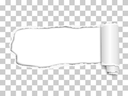 Elongated torn hole from left to right in transparent sheet of paper with soft shadow, paper curl and white background in the hole. Vector paper mock up illustration.