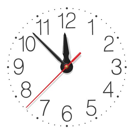 Round wall clock face with glossy metallic hands placed on white background  イラスト・ベクター素材