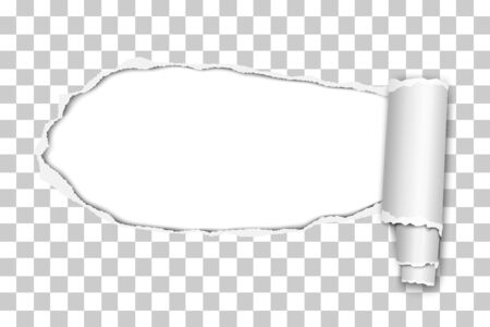 Vector oblong snatched hole from left to right in transparent sheet of paper with paper curl. Paper mock up.