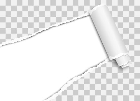 Vector diagonally torn hole in transparent sheet of paper from lower left corner with curl, soft shadow and white background