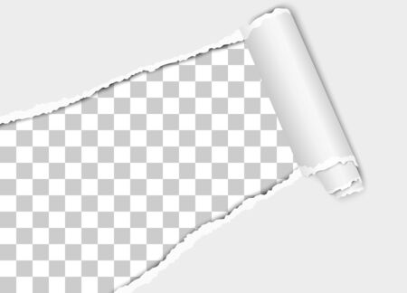 Vector diagonally torn hole in white sheet of paper from lower left to upper right corner with paper curl