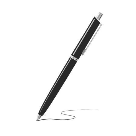 Vector black writing metal pen isolated on white background