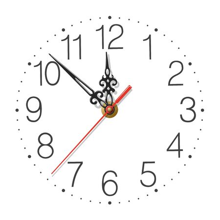 Elegant clock face with figured hands and red second hand isolated on white  イラスト・ベクター素材