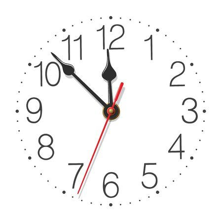 Round wall clock face with glossy metallic hands isolated on white background