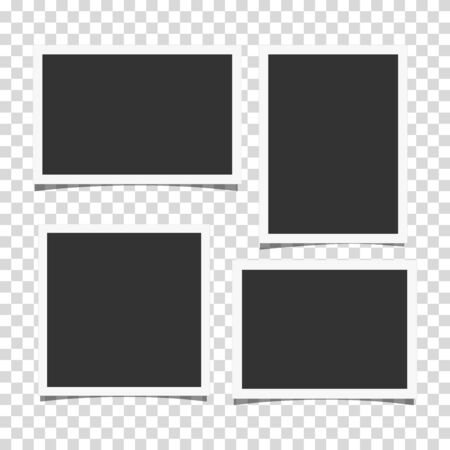 Set of retro realistic vector photo frames with side ratios 3:2, 4:3 and 1:1 placed on transparent background. Template photo design.  イラスト・ベクター素材