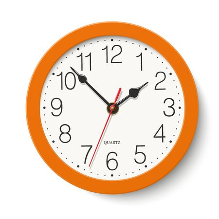 Round wall clock with orange color body isolated on white background
