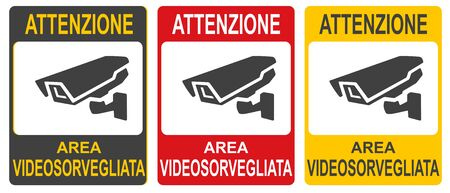 Set of stickers of closed Circuit Television Sign vector colorful illustration. Inscription in Italiano: