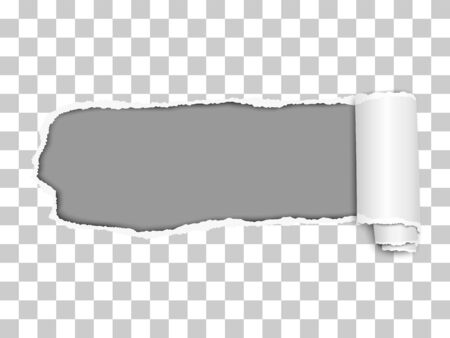 Elongated torn hole from left to right in transparent sheet of paper with soft shadow, paper curl and gray background in the hole. Vector illustration.