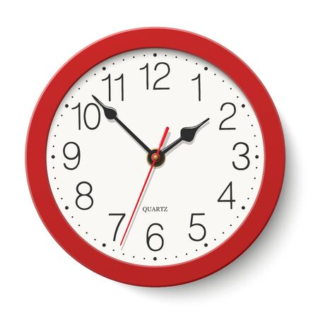 Red round wall clock isolated on white background  イラスト・ベクター素材