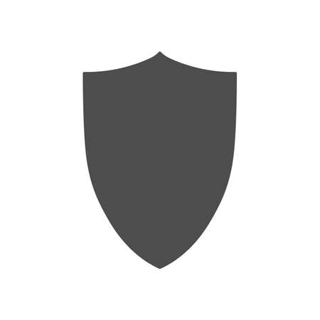 Vector shield grey contour icon isolated on white