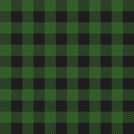 Lumberjack plaid seamless pattern. Vector textile template. Dark green color. 矢量图像