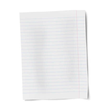 Vector notebook paper isolated on white background