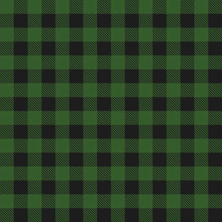 Lumberjack plaid dark green seamless pattern. Vector illustration.  イラスト・ベクター素材