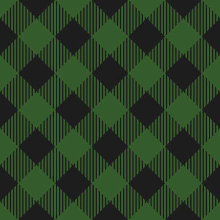 Lumberjack plaid pattern. Vector seamless background. Fabric template in dark green color. Diagonal lines.  イラスト・ベクター素材