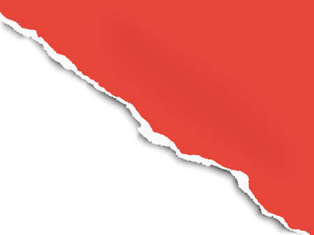 Torn bottom left part of sheet of red paper with white background. Vector paper mockup.