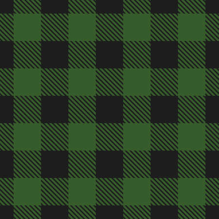 Lumberjack plaid pattern. Vector seamless background in dark green color. 矢量图像