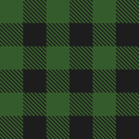 Lumberjack plaid seamless pattern. Vector illustration. Dark green color. Textile template.  イラスト・ベクター素材
