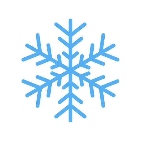 Blue snowflake vector icon isolated on white background