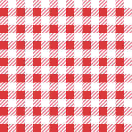 Seamless table cloth texture. Vector illustration. Red color. Textile template.  イラスト・ベクター素材