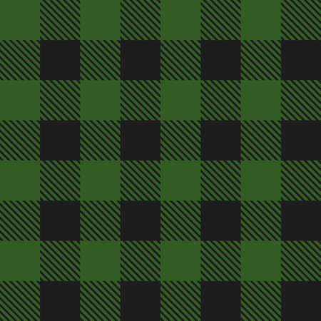 Lumberjack plaid seamless pattern. Textile template. Dark green color. Vector illustration.  イラスト・ベクター素材