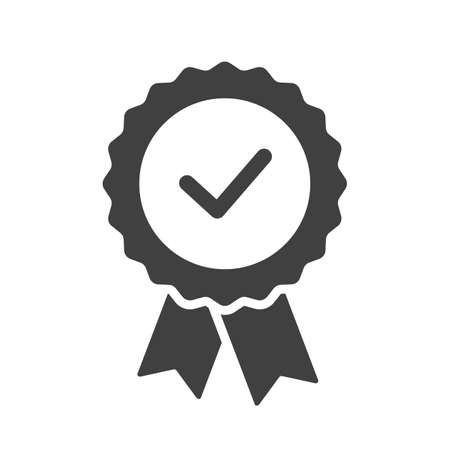 Certified or approved ribbon with checkmark. Approval check vector icon isolated.