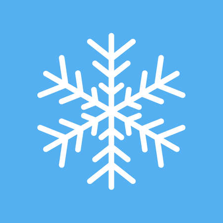 White snowflake vector icon isolated on white background 矢量图像