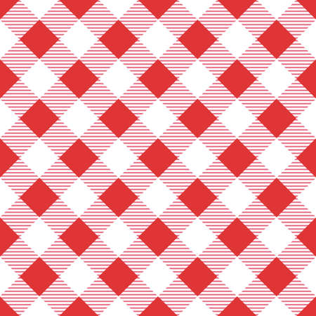 Vector seamless red table cloth texture. Diagonal lines