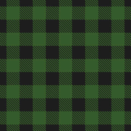 Lumberjack plaid seamless pattern. Vector illustration. Dark green color.  イラスト・ベクター素材