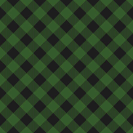 Lumberjack plaid seamless pattern. Vector illustration. Dark green color. Diagonal lines.  イラスト・ベクター素材