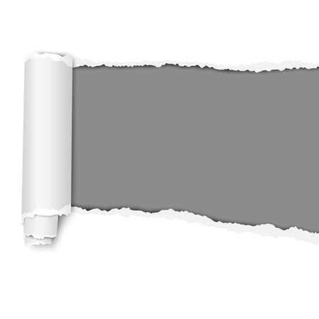 Oblong torn hole from right to left in white sheet of paper with shadow and paper curl. Dark gray resulting background. Vector paper mockup.