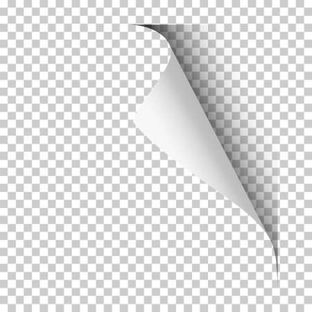 Vector page with upper right curl with shadow on blank transparent sheet of paper